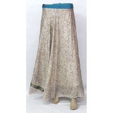 Vintage Silk Wrap Skirt Indian Handmade 2 Layer Women Beach Wear Skirt