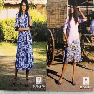 Polyester Georgette Fancy Printed Kurtis