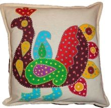 Hand Embroidered Peacock Cushion Cover