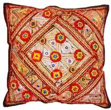 Thread Work Cotton Cushion Cover