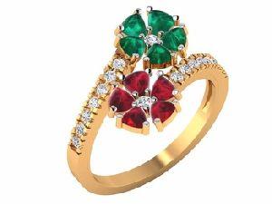 Diamond Ruby Emerald Gold Rings