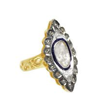 G6912 Sterling Silver Rose Cut Polki Diamond Ring