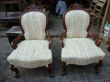 Pair Victorian Chair Upholstered