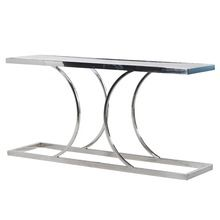 Best Chrome Finish Console Table Made Up Of Stainless Steel Frame With Top Mirror