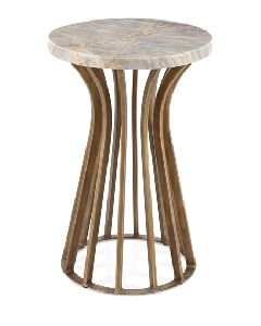 Gold Colour Round Metal Nesting Table Marble Table Top