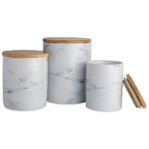 Marble Fancy Tea Coffee Sugar Canisters Set Of 3 Pieces With Wooden Lid