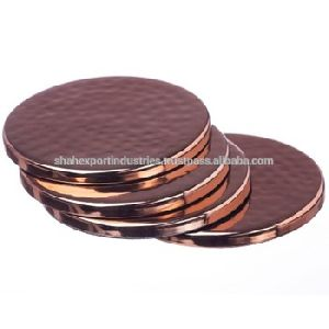 Copper Plated Coaster Plate Round Set