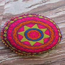 Multi Pom Pom Round Cushion