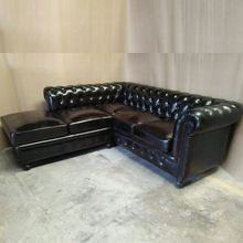Genuine Leather Chesterfield Sectional Sofa