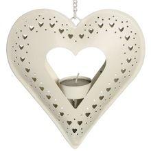 White Powder Coated Heart Shape Christmas Hanging