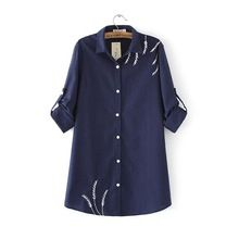 Long Sleeve Cotton Embroidery Tops