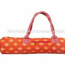 kantha flower printed gym bag