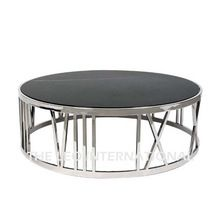 Decorative Roman Letter Metal And Granite Coffee Table