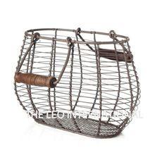 Decorative Wooden Handle Oval Shape Basket