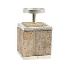 Vintage Design Wooden Square Box Metal Tea Light Holder