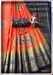 Tk-srichakra Tussar Silk Saree
