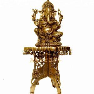 Brass Chowki With Ganesha