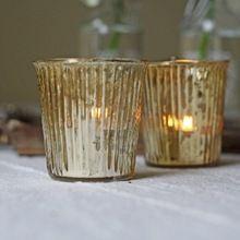 Glass Gold Tea Light Holder