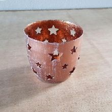 Star Punch Copper Candle Holder
