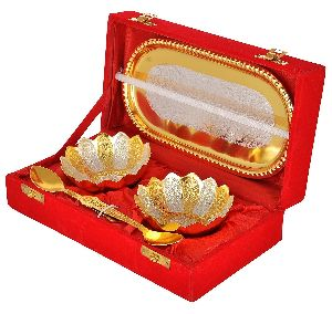 Gold Silver Plated Floral Bowls Spoon