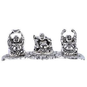 White Metal laughing buddha set
