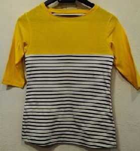 Cotton Panalled Shoulder Stripe Top