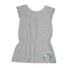 Mega Sleeve Grey Printed Front Frilled Girls Tops