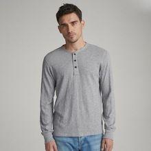 Plain Mens Summer Henley T Shirt