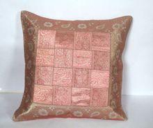 Zari Work Silk Sofa Cushion Cover