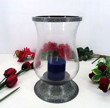 Antique Grey Handmade Metal Glass Candle Pillar