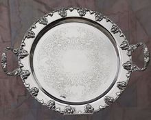 Silver Plate Round Service Tray