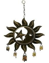 Sun Moon Star Metal Hand Crafted Wind Chime