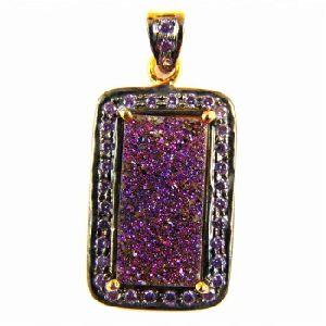 Gemstone Prong Setting Cubic Diamond Micro Plating Pendant