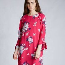 A-line Pretty Pink Floral Printed Dress