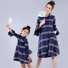 Blue Plaid Shirt Dress For Mom And Daughter