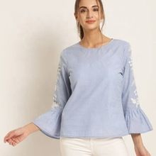 Embroidered Bell Sleeve Casual Party Wear Top