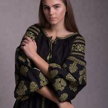 Embroidery Black Full Puff Sleeve Long Dress