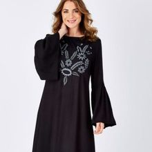 Floral Embroidery Long Sleeve Straight Long Ladies Dress