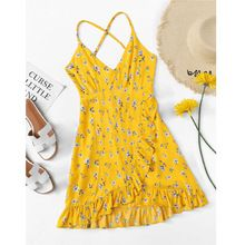 Floral Print Ruffle Hem Spaghetti Strap Backless Short Dress