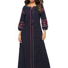 Long Embroidered Sleeve Ladies Dress