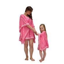 Mother Daughter Matching Pink Beach Wear