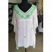 Rayon Beachwear Embroidery Kaftan Women Short Dress