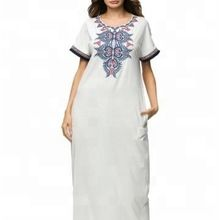 Women  Machine Embroidery Mexican Half Sleeve Casual Dress