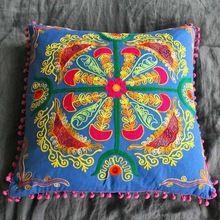 Woolen Aari Embroidery Cushion Cover