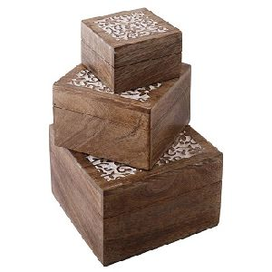 Mango Wood Square Jewelry Boxes