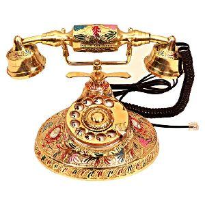 Brass Designer Round Rotary Landline Phone