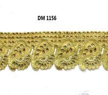 Gold Zari Embroidered Dupion Fabric