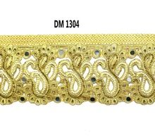 Gold Zari Embroidered Dupion Fabric Cording Cut Work Lace Trim