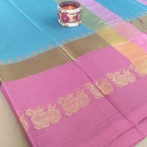Cotton Silk Saree With Blouse Diwali Offer