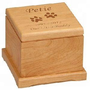Wood Paw Prints Pet Cremation Urn